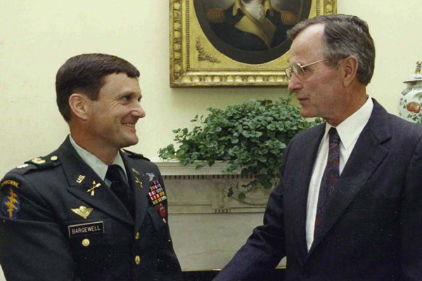 Major General Eldon A. Bargewell and President George H. W. Bush